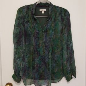 Coldwater Creek long sleeve green blouse